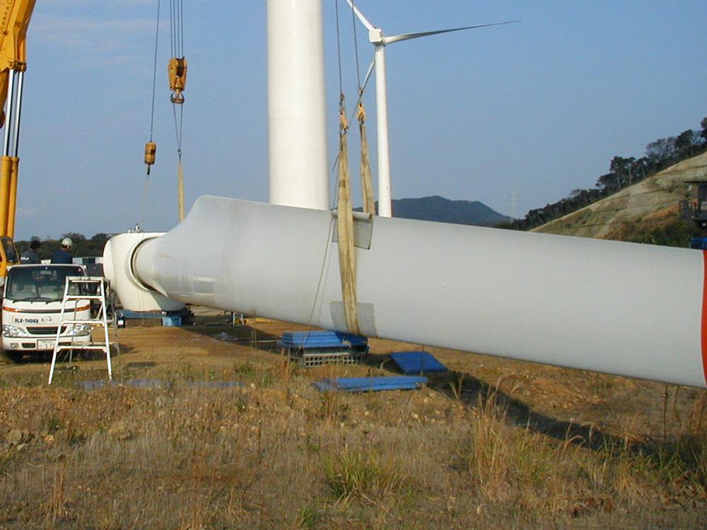風力発電機解体現場①