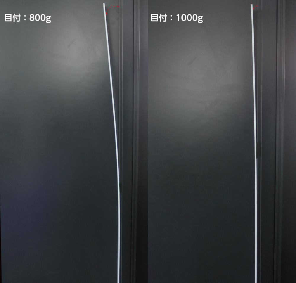 プラダン自立性の比較(横から)左:目付800g 右:目付1000g