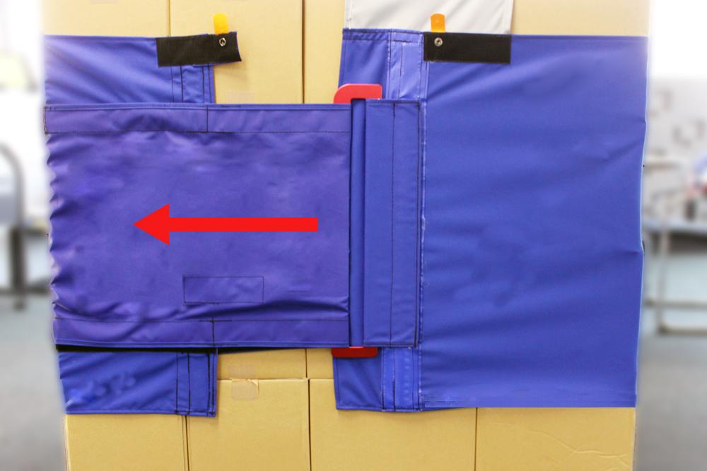 以前のケースロック70試作品 45サイズと同じ短いフラットバックルを使用しているため  バックルが付いたベルトにだけ引っ張る力(矢印)が加わり、全体に力が伝わりづらいです。