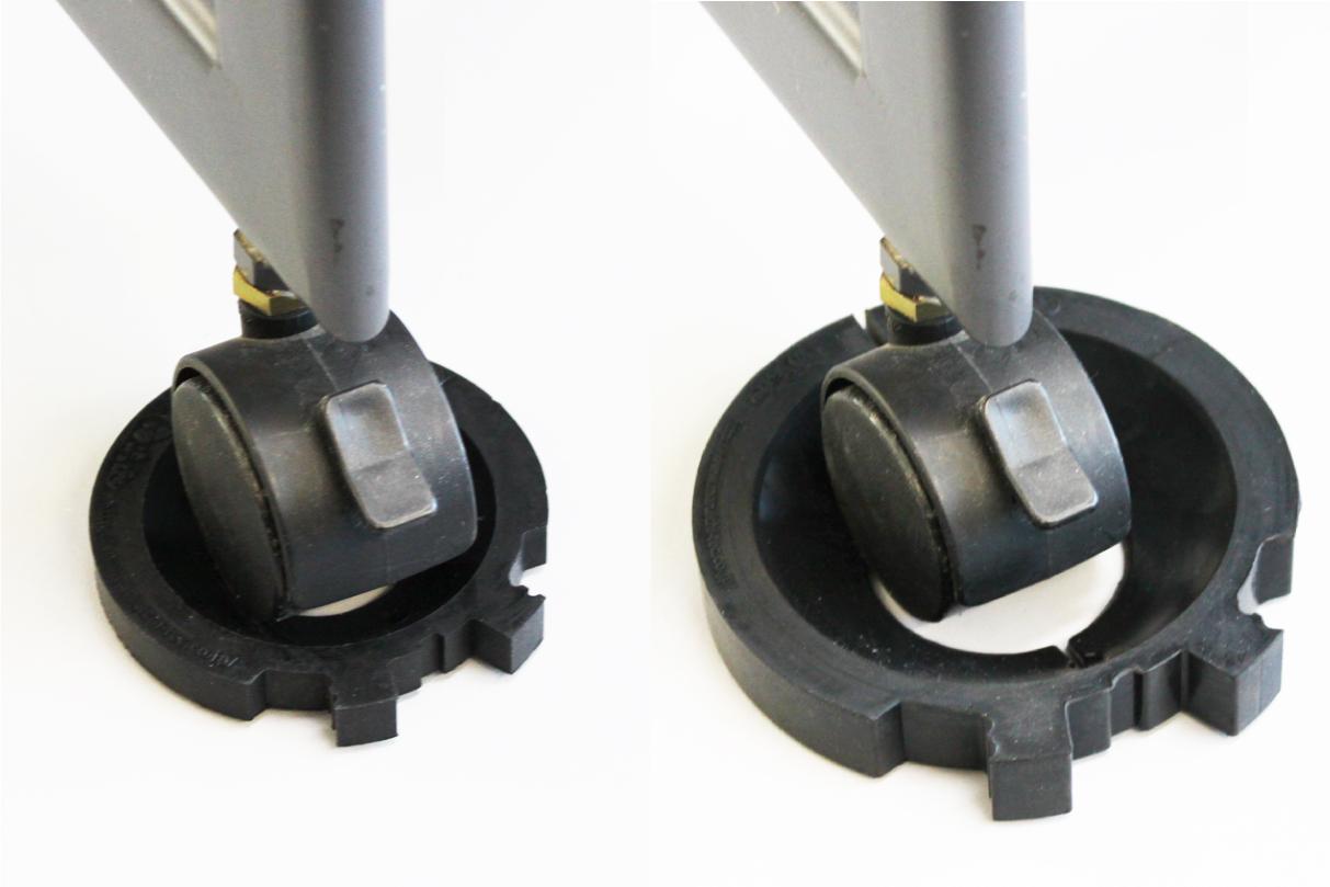 キャスパー2ndサイズ比較 Sサイズ(左) Mサイズ(右)<br /> 今までのMサイズでは隙間が出来ていた小さいキャスターには、ピッタリと装着できるSサイズをご利用いただけます。